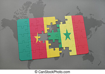 puzzle with the national flag of cameroon and senegal on a world map.