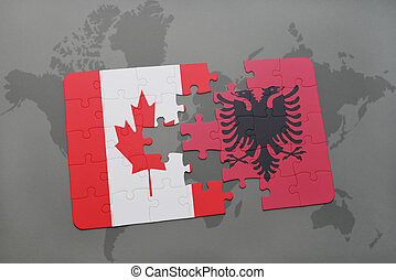 puzzle with the national flag of canada and albania on a world map background.