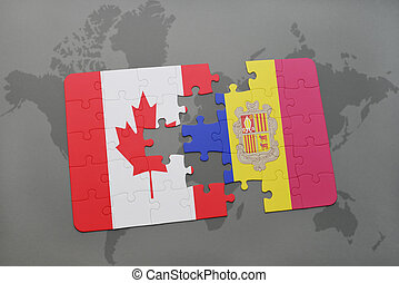 puzzle with the national flag of canada and andorra on a world map background.