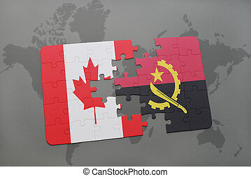 puzzle with the national flag of canada and angola on a world map background.