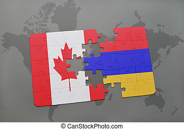 puzzle with the national flag of canada and armenia on a world map background.