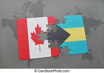 puzzle with the national flag of canada and bahamas on a world map background.