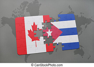 puzzle with the national flag of canada and cuba on a world map background.