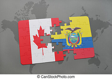 puzzle with the national flag of canada and ecuador on a world map background.