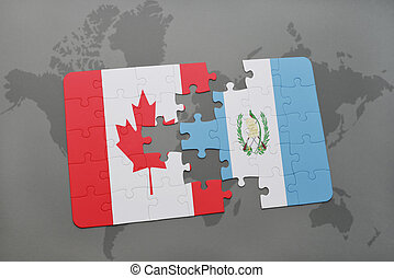 puzzle with the national flag of canada and guatemala on a world map background.