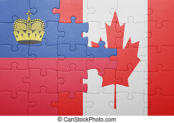 puzzle with the national flag of canada and liechtenstein . ...