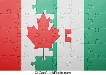 puzzle with the national flag of canada and nigeria