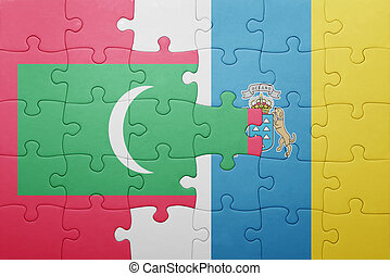 puzzle with the national flag of canary islands and maldives