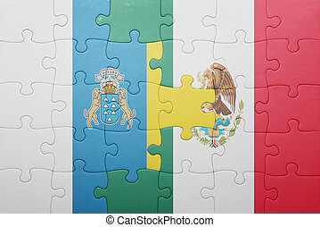 puzzle with the national flag of canary islands and mexico