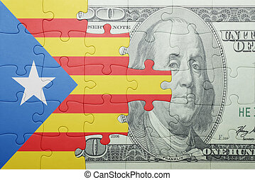 puzzle with the national flag of catalonia and dollar banknote