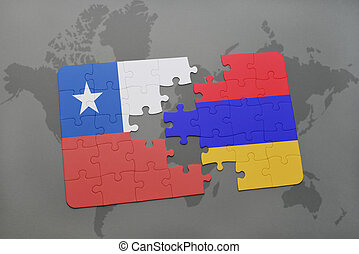puzzle with the national flag of chile and armenia on a world map background.