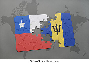 puzzle with the national flag of chile and barbados on a world map background.