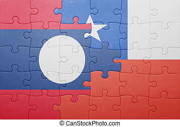 puzzle with the national flag of chile and laos