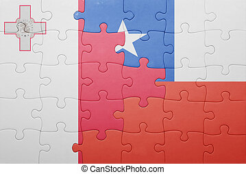 puzzle with the national flag of chile and malta