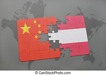 puzzle with the national flag of china and austria on a world map background.