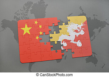 puzzle with the national flag of china and bhutan on a world map background.