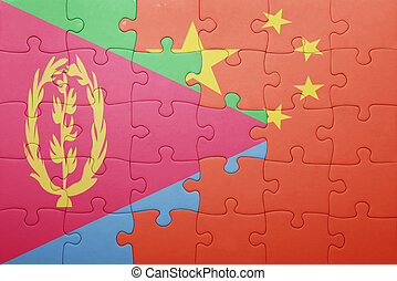 puzzle with the national flag of china and eritrea