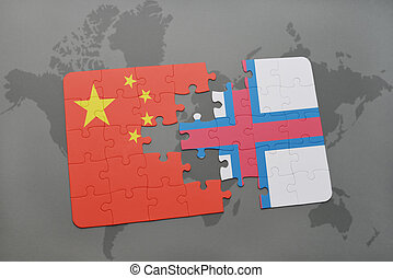 puzzle with the national flag of china and faroe islands on a world map background.