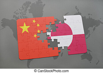 puzzle with the national flag of china and greenland on a world map background.