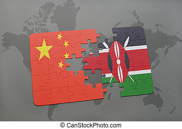 puzzle with the national flag of china and kenya on a world map background. 3D illustration