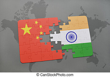 puzzle with the national flag of china and india on a world map background.