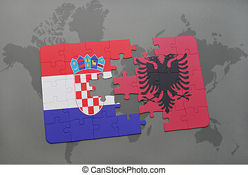 puzzle with the national flag of croatia and albania on a world map background.