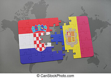 puzzle with the national flag of croatia and andorra on a world map background.