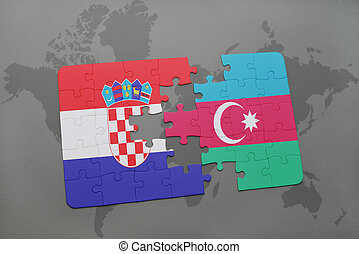 puzzle with the national flag of croatia and azerbaijan on a world map background.