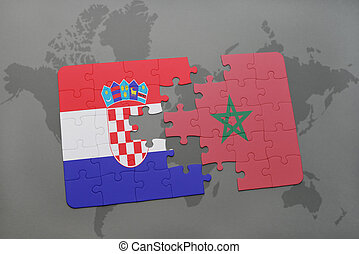 puzzle with the national flag of croatia and morocco on a world map