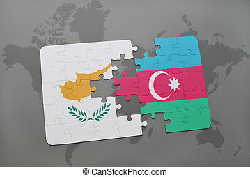 puzzle with the national flag of cyprus and azerbaijan on a world map background.