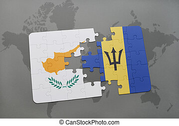 puzzle with the national flag of cyprus and barbados on a world map