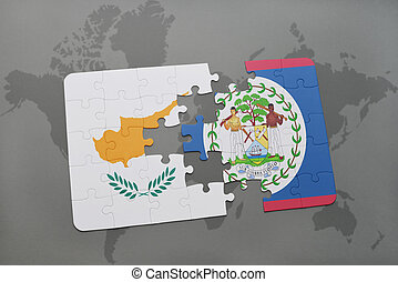 puzzle with the national flag of cyprus and belize on a world map