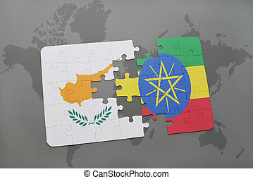 puzzle with the national flag of cyprus and ethiopia on a world map