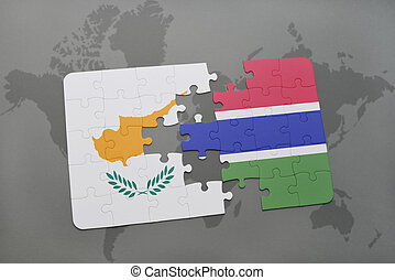 puzzle with the national flag of cyprus and gambia on a world map