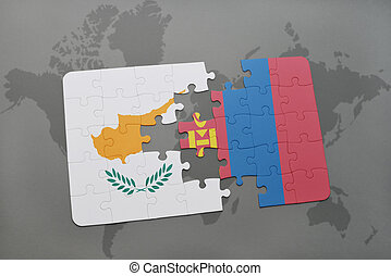 puzzle with the national flag of cyprus and mongolia on a world map