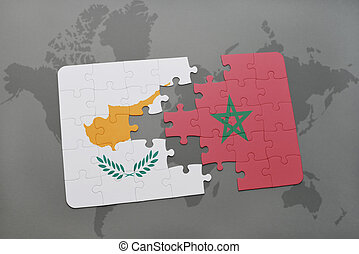 puzzle with the national flag of cyprus and morocco on a world map