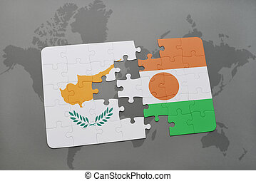 puzzle with the national flag of cyprus and niger on a world map