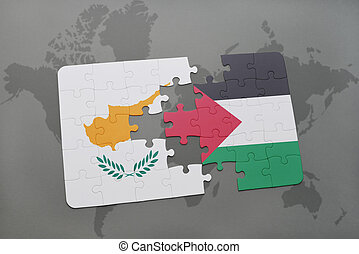 puzzle with the national flag of cyprus and palestine on a world map