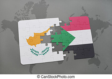 puzzle with the national flag of cyprus and sudan on a world map