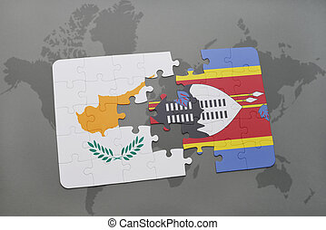 puzzle with the national flag of cyprus and swaziland on a world map