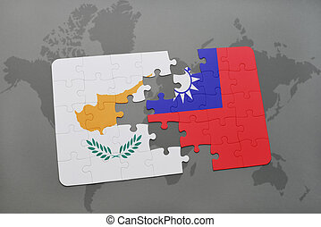 puzzle with the national flag of cyprus and taiwan on a world map