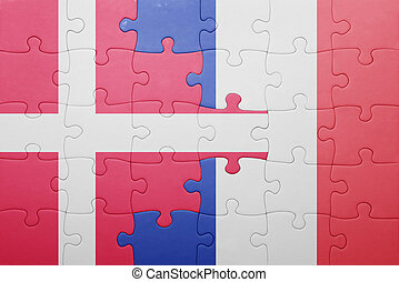 puzzle with the national flag of denmark and france