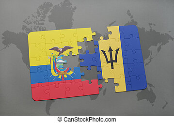 puzzle with the national flag of ecuador and barbados on a world map background.