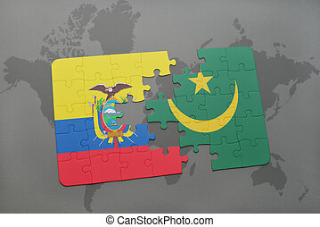 puzzle with the national flag of ecuador and mauritania on a world map