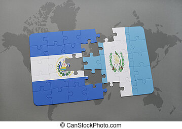 Waving el salvador and guatemalan flags on the of the drawings puzzle with the national flag of el salvador and guatemala on a world map background gumiabroncs Gallery