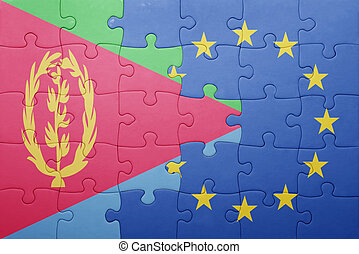 puzzle with the national flag of eritrea and european union