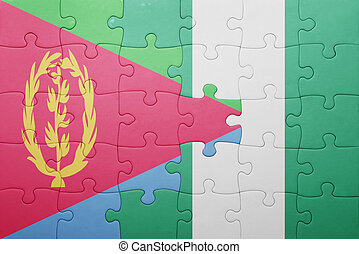puzzle with the national flag of eritrea and nigeria