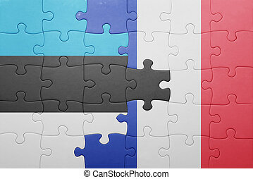 puzzle with the national flag of estonia and france