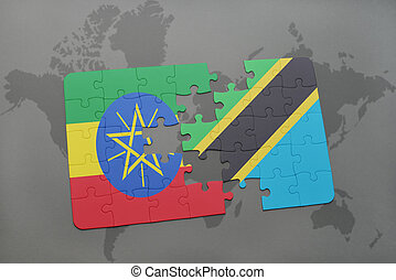 puzzle with the national flag of ethiopia and tanzania on a world map