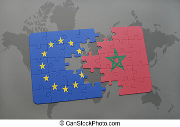 puzzle with the national flag of european union and morocco on a world map background.